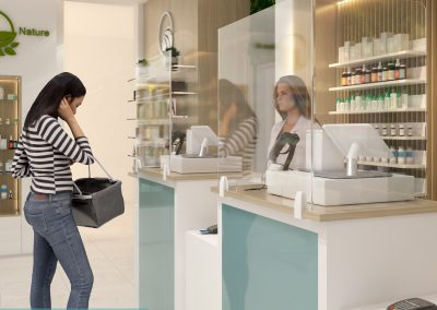 Reception hygiene screens for a retail sector