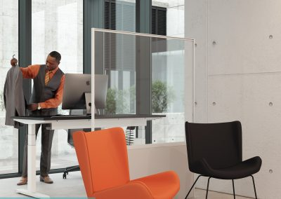 Freestanding hygiene screens for shared or executive offices