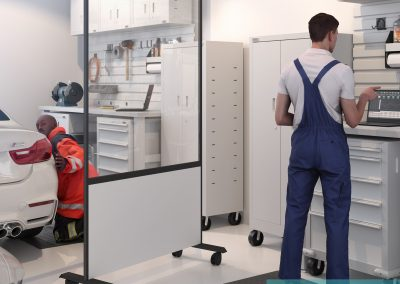 Mobile hygiene screens for mobile or factory working.