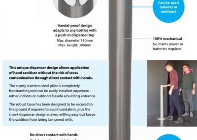 Hands-free dispenser. Pedal activated sanitiser dispenser.