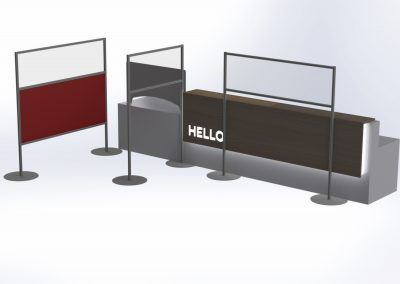 Freestanding clear and coloured perspex screens